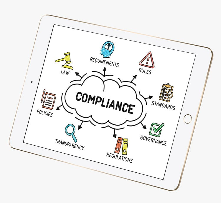 iPad with compliance graphic on Information Governance